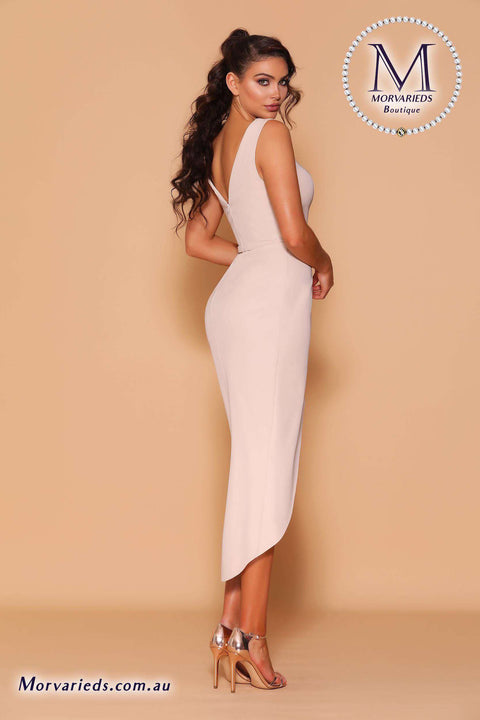 Nude Wrap Dress | Jadore Les Demoiselle Dress LD1136 - Morvarieds Boutique