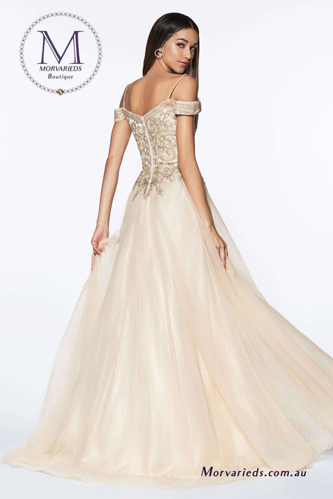 Tulle Dress | A-line Tulle Gown with Off the Shoulder Beaded Bodice - Morvarieds Boutique