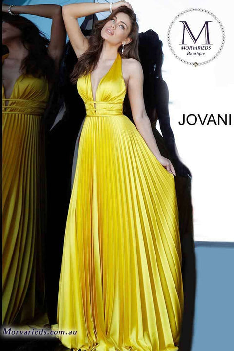 Satin Prom Dress | Backless Pleated Prom Dress Jovani 00637 - Morvarieds Boutique