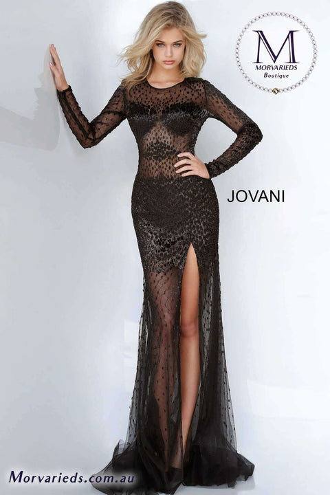 Sexy Prom Dress  | Black Beaded Illusion Dress jovani 00536 - Morvarieds Boutique