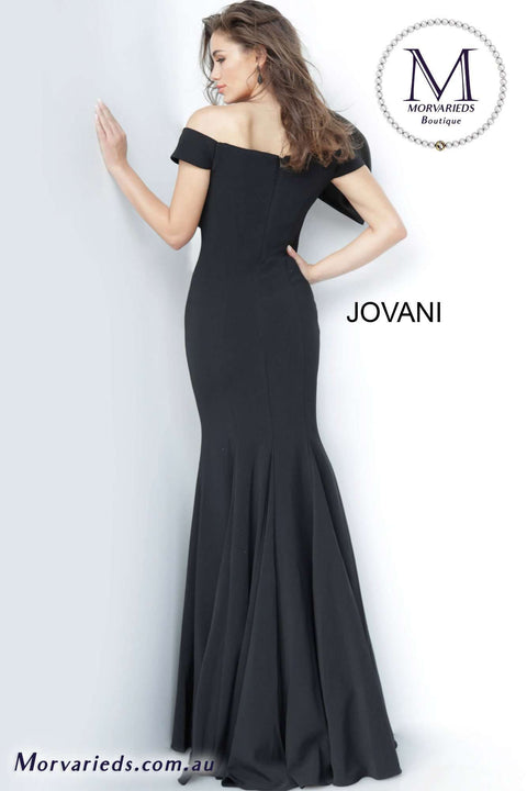 Black Evening Gown  | Large Bow Bodice Dress Jovani 1007 - Morvarieds Boutique