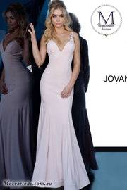 Simple Prom Dress | Blush Jersey Prom Dress Jovani 1074 - Morvarieds Boutique