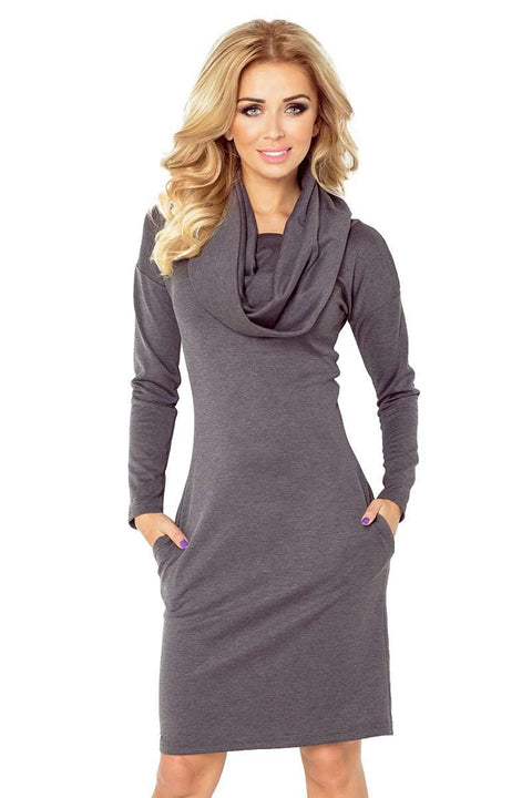 Dress with large turtleneck and pockets - Grey - Morvarieds Boutique