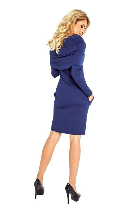 Dress with large turtleneck and pockets - Navy Blue - Morvarieds Boutique