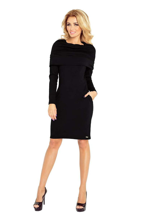 Dress with large turtleneck and pockets - Black - Morvarieds Boutique