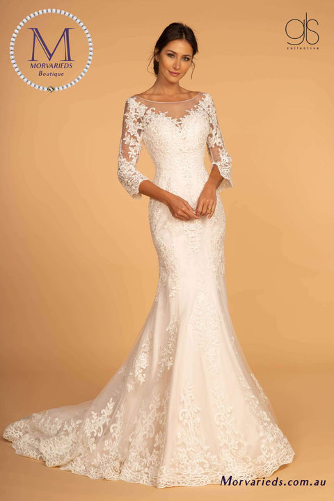 GL2592 Embroidered Mesh Mermaid Wedding Gown w/ V-Back - Morvarieds Boutique