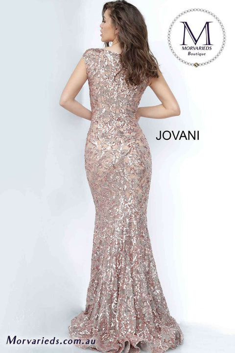 Long lace Dress | Boat Neck Evening Dress Jovani 1123 - Morvarieds Boutique