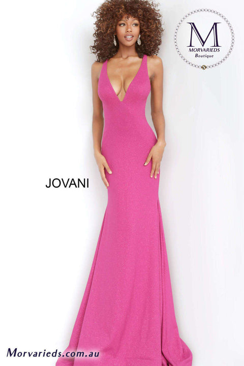 Simple Prom Dress  | Fuchsia V Neck Prom Gown Jovani 00698 - Morvarieds Boutique