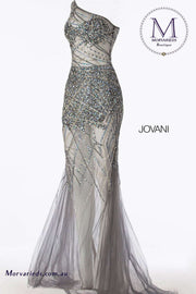One Shoulder Dress | Gunmetal Beaded Fitted Sheer Prom Dress 55567 - Morvarieds Boutique