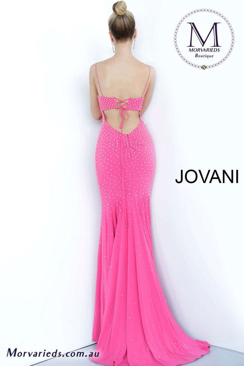 Hot Pink Prom Dress  | Embellished Tie Back Dress Jovani  00625 - Morvarieds Boutique