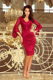 Burgundy Cocktail Dress, Lace Party Dress with Flared Sleeves - Morvarieds Boutique