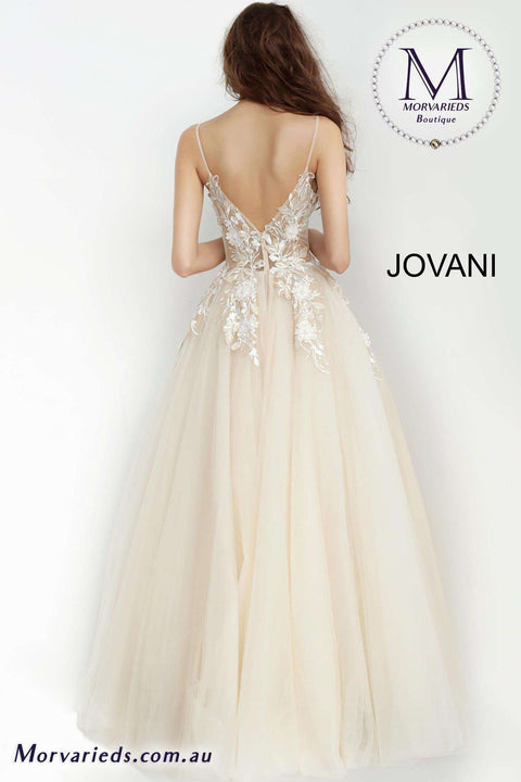 Ball Gown Prom Dress | Flower Appliques Dress Jovani 02758 - Morvarieds Boutique