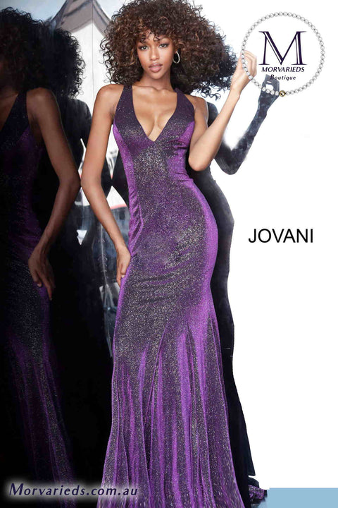 Purple Bridesmaid Dress |  Low V Neck Prom Dress Jovani 1068 - Morvarieds Boutique