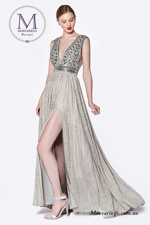 Beaded Dress | A line Formal Dress with illusion sides and deep open neckline - Morvarieds Boutique