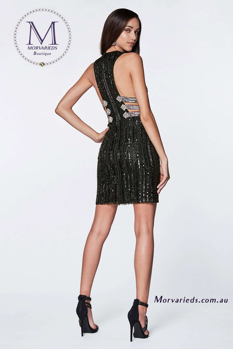 Black Cocktail Dress | Beaded Dress with Razor Back and Strappy Side - Morvarieds Boutique