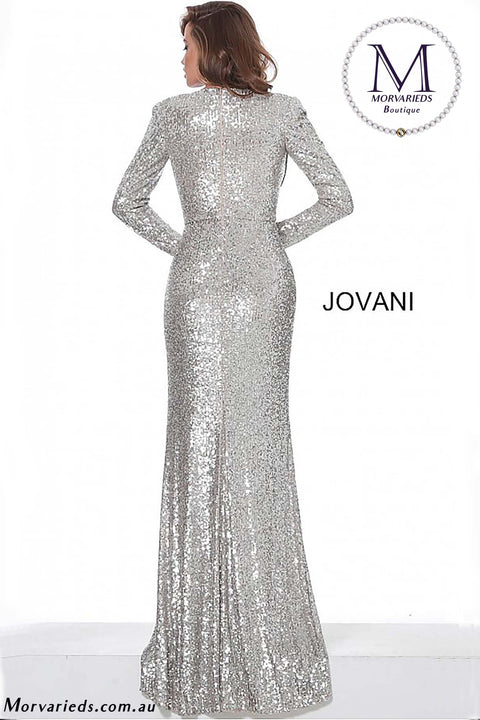 Sequin Prom Dress | Nude Silver Sequin Dress Jovani 04886 - Morvarieds Boutique