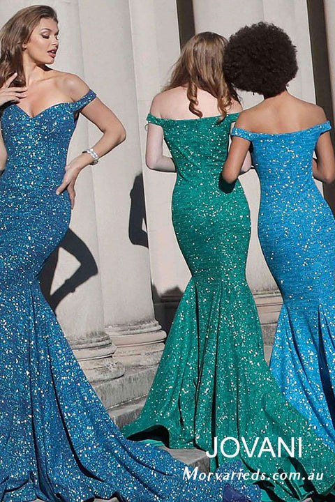 Off the Shoulder Fitted Glitter Formal Dress Jovani  60122 - Morvarieds Boutique