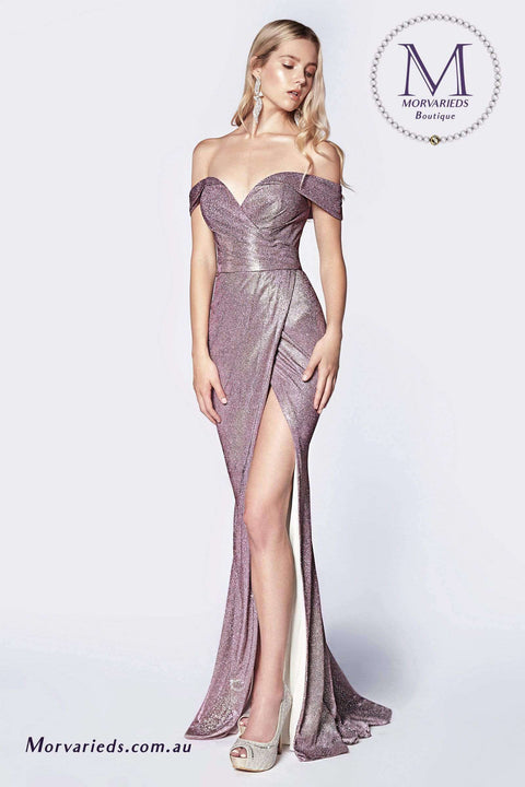 Off the Shoulder Dress, Metallic Gown with Sweetheart Neckline and Leg Slit - Morvarieds Boutique