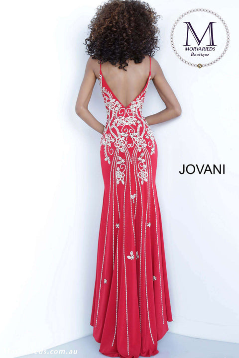 Red Prom Dress | Fitted Jersey Dress Jovani 54927 - Morvarieds Boutique