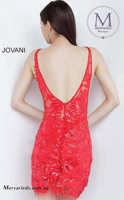 Red Cocktail Dress | Embellished Fitted Jovani Dress 4552 - Morvarieds Boutique