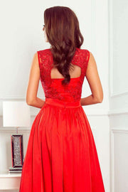 Red Maxi Dress with Embroidered Lace Bodice & Cut out Back - Morvarieds Boutique