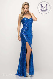 Strapless Dress I Fitted Sequin Gown with Side Gathered Waistline and Slit - Morvarieds Boutique