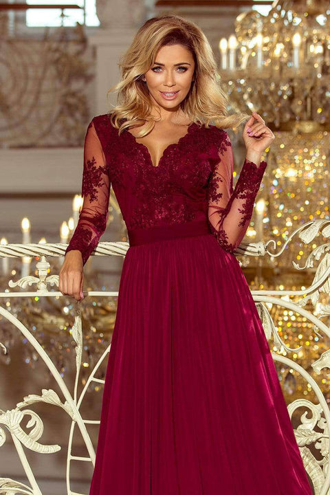 Maxi Formal Dress Burgundy with Embroidery - Morvarieds Boutique