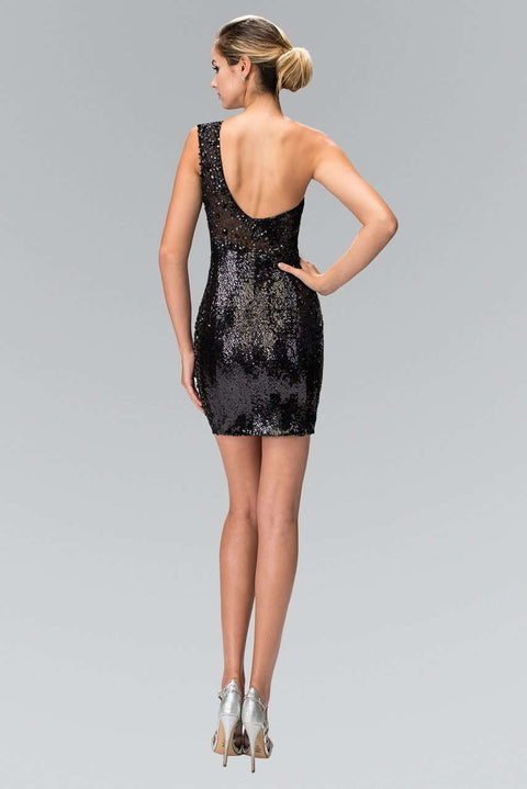 GS1150 Elizabeth K One Shoulder Sequin Bodycon Short Dress - Morvarieds Boutique