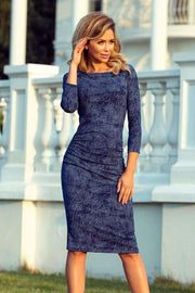 Ruched Dress in Blue Jeans - Morvarieds Boutique
