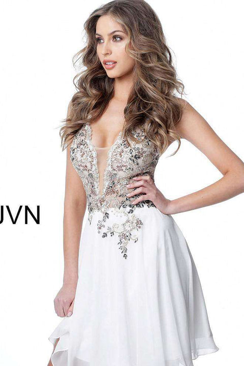 Cocktail Dress, Off White Embellished Bodice Plunging Neck Short Dress JVN2174 - Morvarieds Boutique