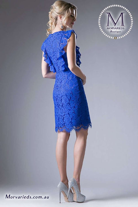 Sheath lace cocktail dress with flutter sleeves - Morvarieds Boutique