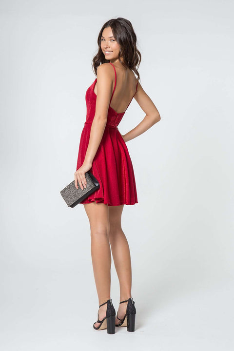 GS2837 Cocktail Dress, Sweetheart Neckline A-Line Short Dress w/ Pocket - Morvarieds Boutique