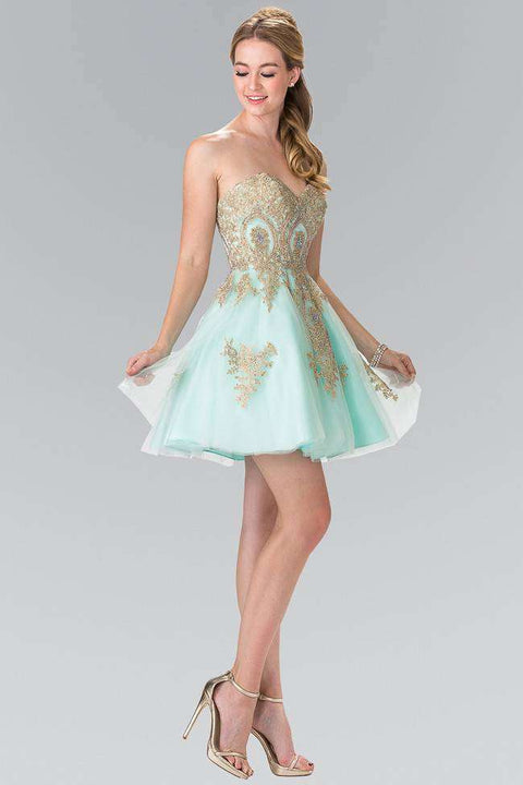 GS2371 Elizabeth K Sweethearted A-line Tulle Short Dress with Corset Back-Mint - Morvarieds Boutique
