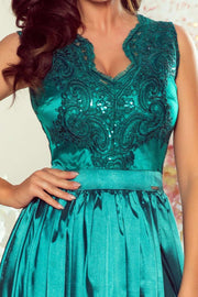 Green Maxi Dress with Embroidered Lace Bodice & Cut out Back - Morvarieds Boutique