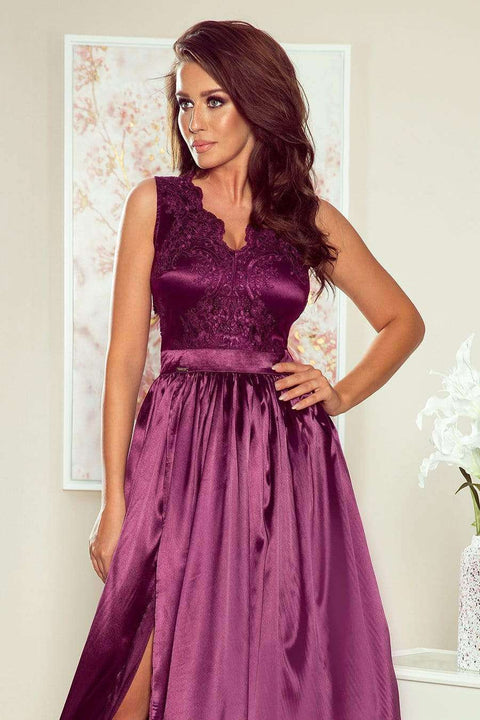 Purple Maxi Dress with Embroidered Lace Bodice & Cut out Back - Morvarieds Boutique