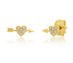 Arete Stud Heart Gold