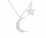 Pave Moon Star Necklace