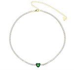 Heart Tennis Necklace - Green