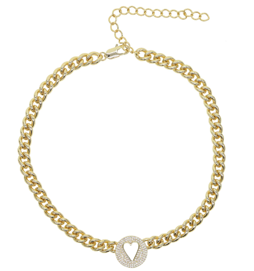 Cuban Chain Heart Necklace