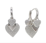 Micro Pave Cz Hoop - Silver Heart