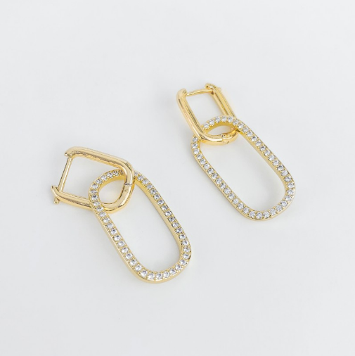 Hoops with cz - Rounded Rectangle