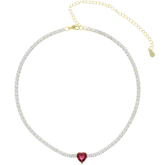 Heart Tennis Necklace - Red