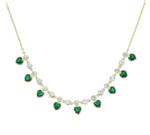 Hearts Necklace - Green