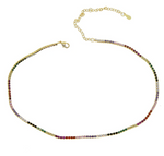 Small Tennis Necklace - Rainbow