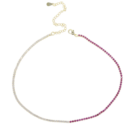 Small Tennis Necklace - White , Pink