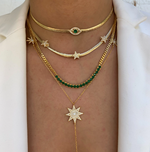 Gold Necklace - Green Eye