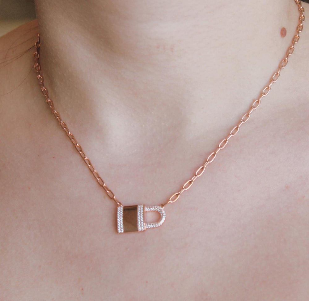 Lock Rose Gold Necklace