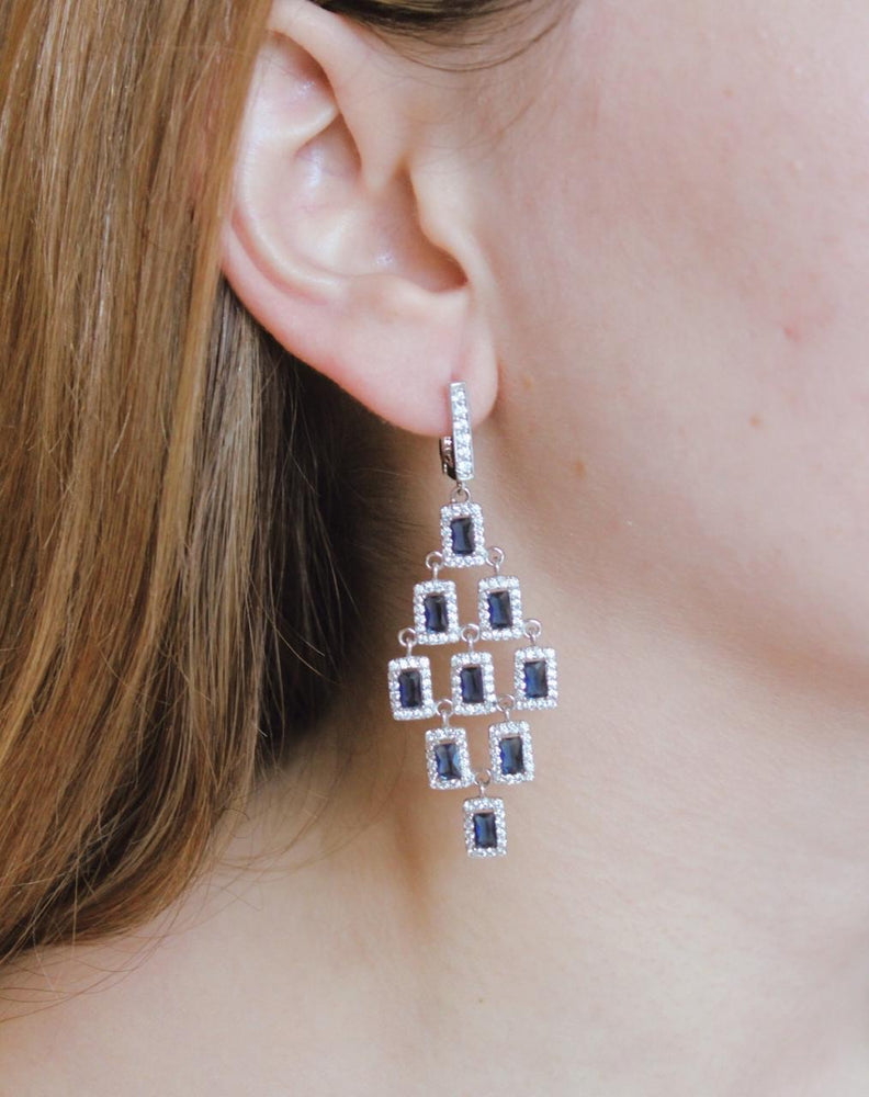 Drop CZ Sapphire Earrings