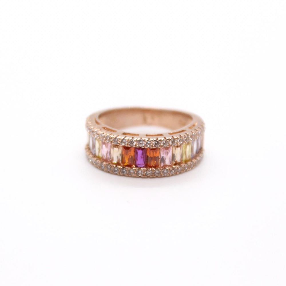 Anillo Rainbow Baguette Rose Gold