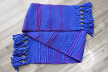 Load image into Gallery viewer, Blue pile loop wool scarf, handwoven scarf, Merino wool, Peruvian Highland wool, purple on blue, Hampshire Hill